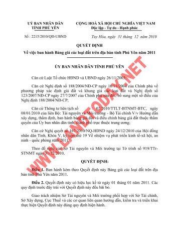 Tuy Hòa, ngày 31 tháng 12 năm 2010 QUYẾT ĐỊNH Về việc ban ...