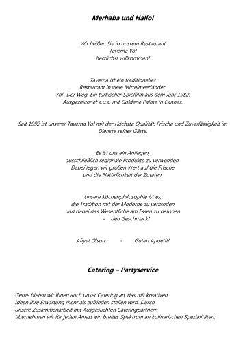 Merhaba und Hallo! Catering – Partyservice - Taverna Yol