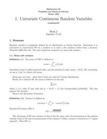 1. Univariate Continuous Random Variables - Dartmouth College