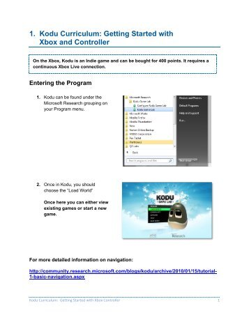 1. Kodu Curriculum: Getting Started with Xbox and Controller