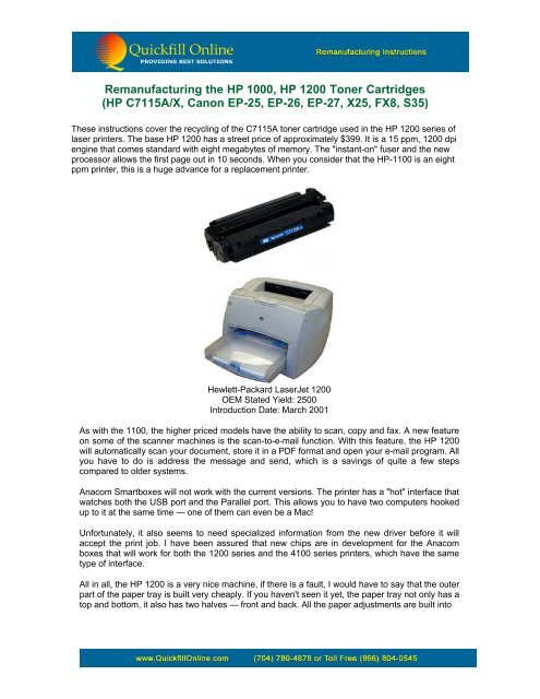 Instructions to refill HP 1200-75A/X Canon FX8 - Quickfill Online