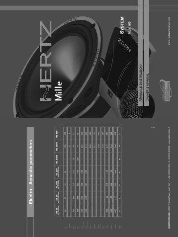 Electro - Acoustic parameters - HERTZ by Elettromedia