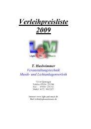 Verleihpreisliste 2009 T. Haslwimmer Veranstaltungstechnik Musik