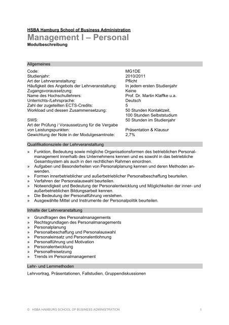 Studiengang Media Management, 1. Studienjahr - HSBA