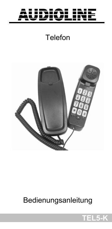 TEL5-K Telefon Bedienungsanleitung - Audioline