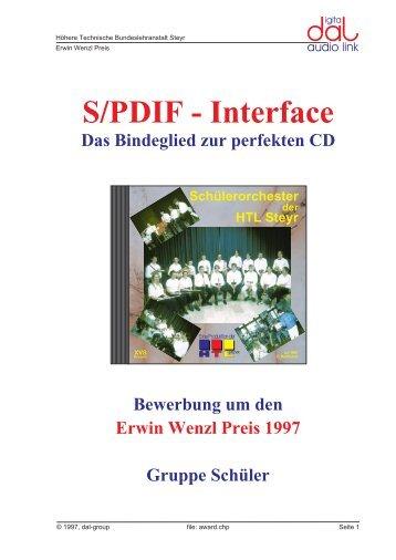S/PDIF - Interface Das Bindeglied zur perfekten CD ... - der HTL Steyr