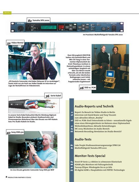 Audio-Reports und Technik Audio-Tests Monitor-Tests Special