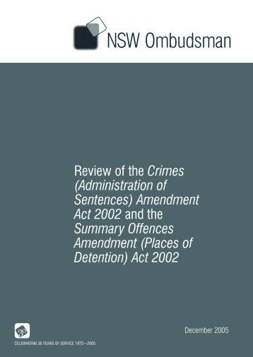 Administration of Sentences - NSW Ombudsman - NSW Government