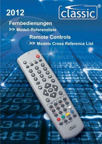 Fernbedienungen >>> Modellreferenzliste Remote Controls