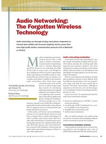 Audio Networking: The Forgotten Wireless Technology - Anil ...