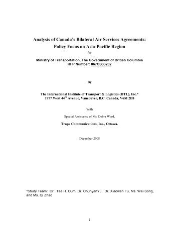 Analysis of Canada's Bilateral Air Services Agreements - Ministry of ...