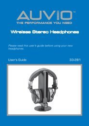 AUVIO Stereo Wireless Headphones (User's Guide) - Radio Shack