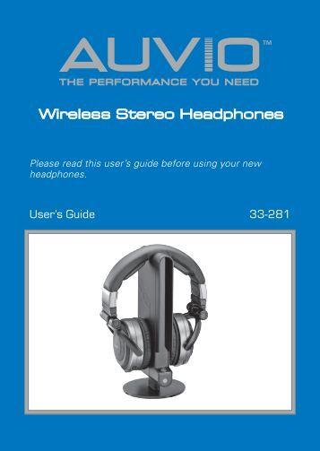 AUVIO Stereo Wireless Headphones (User's Guide) - Radio Shack
