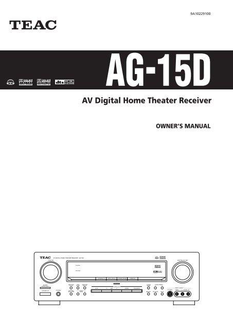 AG 15D AV Digital Home Theater Receiver - TEAC Europe GmbH