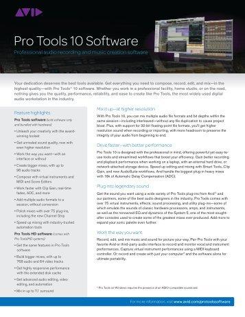 Pro Tools 10 datasheet - Avid