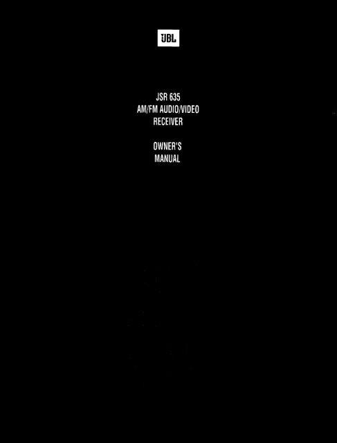 jsr 635 aivi/fivi audio/video receiver owner's manual - JBL