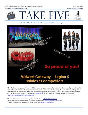 Official Newsletter of Midwest Gateway Region 5 Sweet Adelines ...