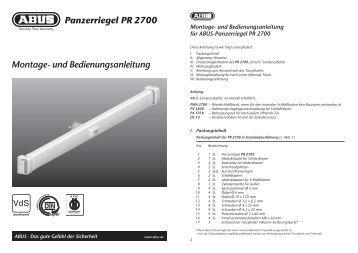 Montage- und Bedienungsanleitung Panzerriegel PR 2700 - Abus