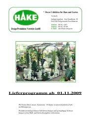 Lieferprogramm ab 01.11.2009 - Uwe Meierwisch Handelsvertretung