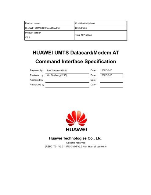 HUAWEI UMTS Datacard Modem AT Command Interface
