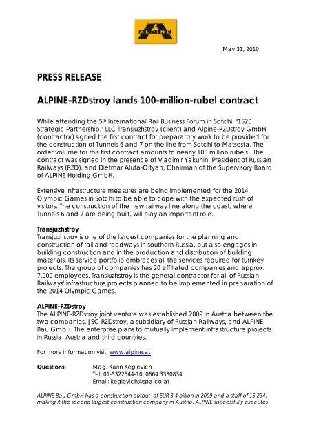 Contract Alpine-Rzdstroy (PDF) - ALPINE Bau Gmbh