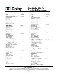 Distributor List for Pro Audio Equipment - Dolby Laboratories Inc.
