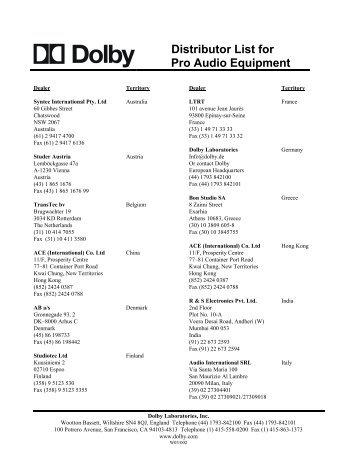 Distributor List for Pro Audio Equipment - Dolby Laboratories Inc.