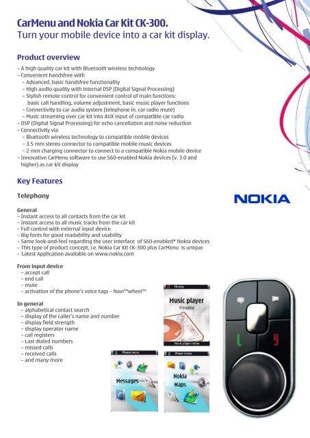 CarMenu and Nokia Car Kit CK-300  - Nokia Press
