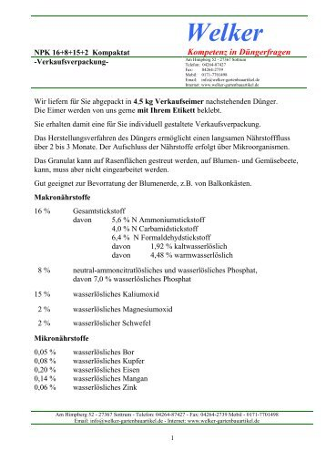 NPK 16+8+15+2 Streudünger Welker - Gartenbauartikel.de