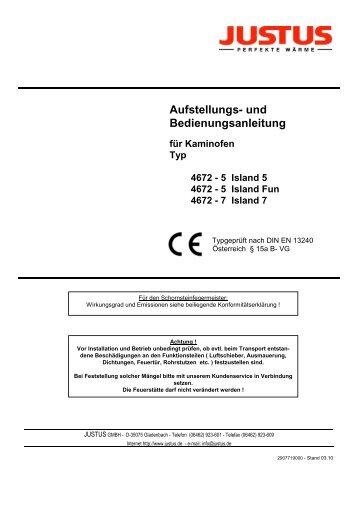 Aufstellungs- und Bedienungsanleitung - Justus