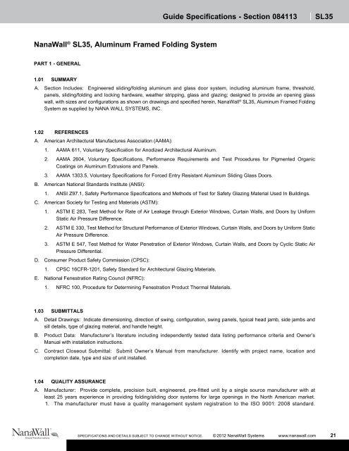 Section 084113 | SL35 - NanaWall