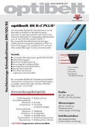 Hochleistungs-Schmalkeilriemen DIN/ISO/BS optibelt SK S=C PLUS