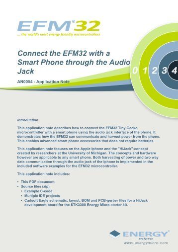 Connect the EFM32 with a Smart Phone through the Audio Jack ...
