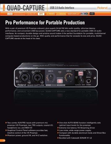 Pro Performance for Portable Production QUAD-CAPTURE ... - Roland