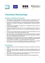 Checkliste Stereoanlage Bauform, Ausstattung, Funktionen - BAGSO