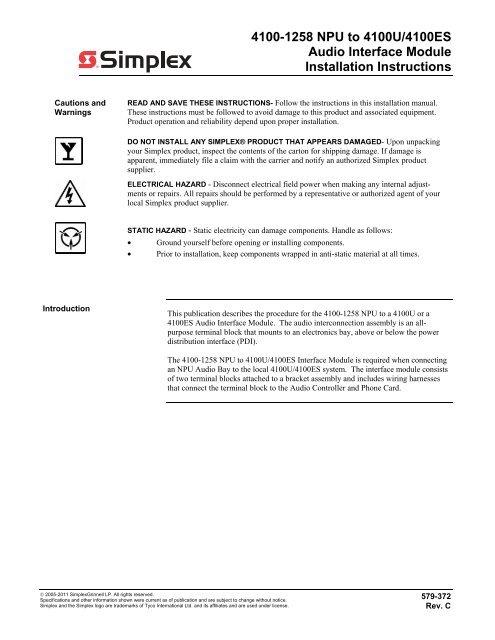 4100-1258 NPU to 4100U/4100ES Audio Interface Module