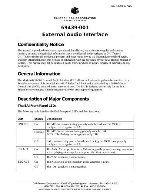 69439-001 External Audio Interface - GAI-Tronics