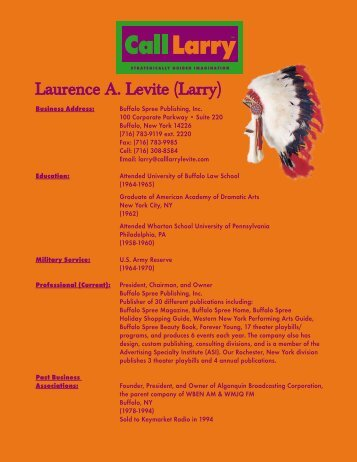 Laurence A. Levite (Larry) - Buffalo Spree