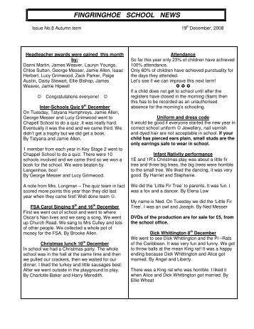 fingringhoe school news - Fingringhoe Primary School Website