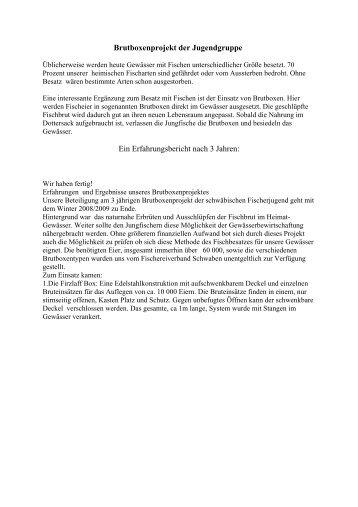 Erfahrungsbericht mit Brutboxen nach 3-Jahren - pvbern.ch