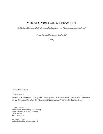 MESSUNG VON TEAMWIRKSAMKEIT - Dr. Petra Buchwald