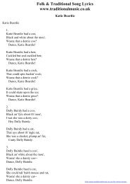Folk & Traditional Song Lyrics - Katie Beardie - Traditional Music ...