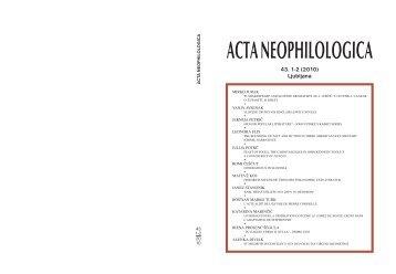 ACTA NEOPHILOLOGICA - Filozofska fakulteta - Univerza v Ljubljani