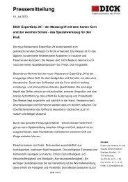Pressemitteilung - Friedr. DICK