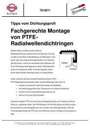 Fachgerechte Montage von PTFE- Radialwellendichtringen - Elring