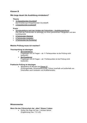 Ausbildungsdauer - Fahrschule G. Behning