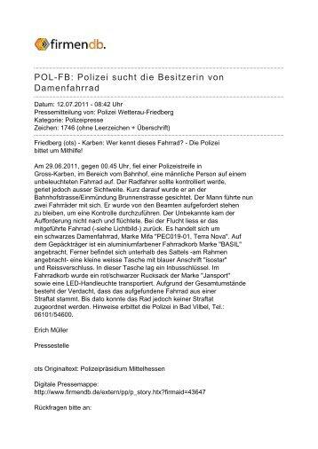 POL-FB: Polizei sucht die Besitzerin von Damenfahrrad - Firmendb