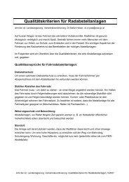 Qualitätskriterien für Radabstellanlagen - Klimarettung