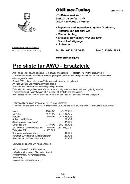 Becherbirne 6 V 3 W für AWO Sport
