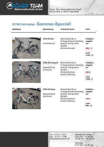 KTM-Fahrräder: Sommer-Special!